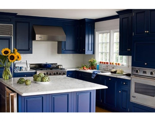 Dark blue and white modern kitchen, with vase of sunflowers on the kitchen counter