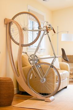 Funky Curved Bike Stand In A Living Room