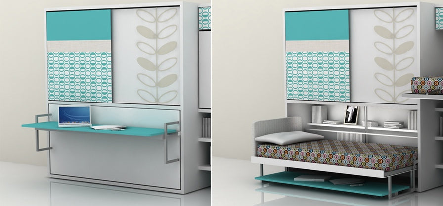 Multipurpose teal and white office desk and fold out bed