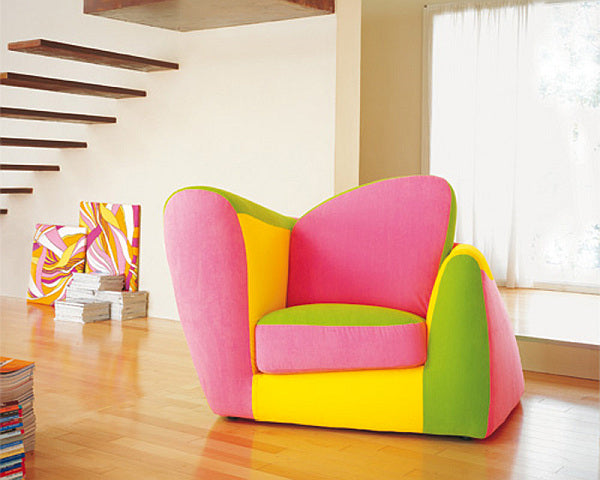 Pink, yellow and green funky armchair