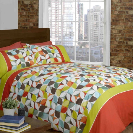 Funky modern geometric double bedding in green, orange, white, duck egg blue and brown