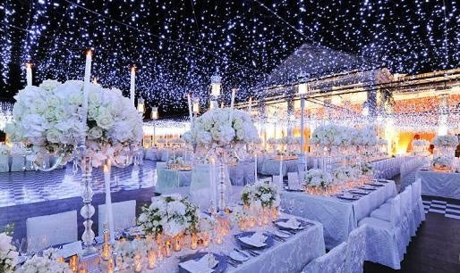 White Fairy Lights Covering The Ceiling Of A Wedding Breakfast