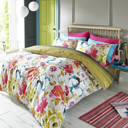 Modern floral double bedding in gold, white, pink, blue and yellow