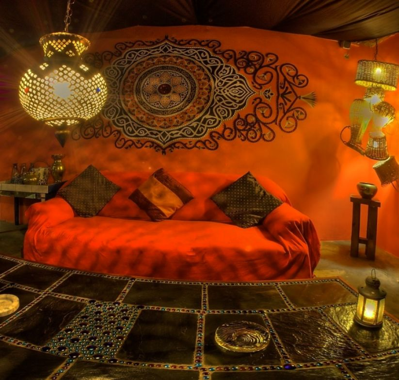 Decoration Moroccan Home Decor Best With Orange Wall And Red Sofa