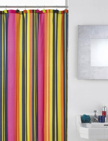 Pink, yellow, black and orange striped shower curtain