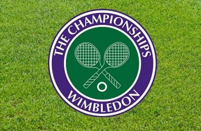 Wimbledon tennis logo, with a grass lawn background