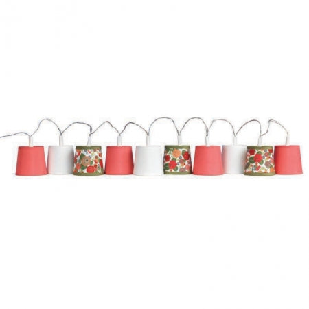 Selection of white, red and spotty lampshades