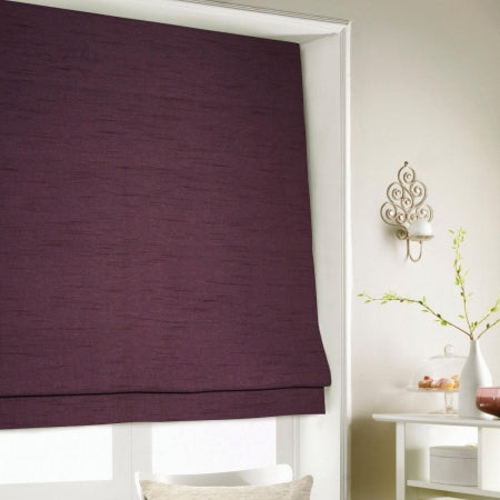 Aubergine coloured roman blinds