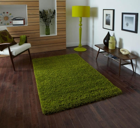 Dark green rug on a dark wooden floor