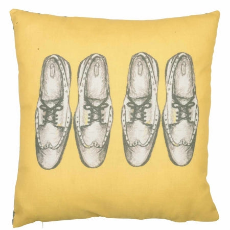 Yellow square cushion with two pairs of shoes printed design