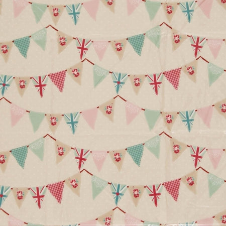 Cream fabric swatch with red, duck egg and pink bunting