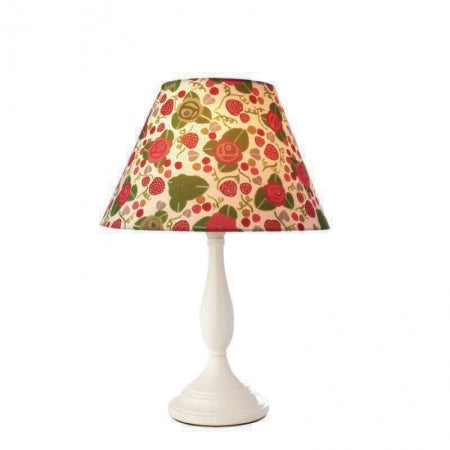 White lamp with cream, red and green floral lampshade