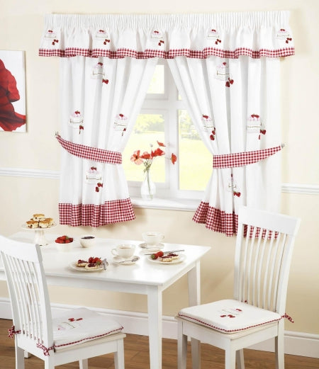 White and red kitchen curtains