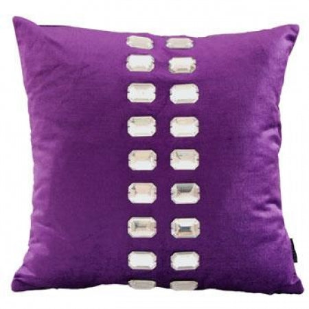 A purple cushion with a centre stripe of shiny sequins