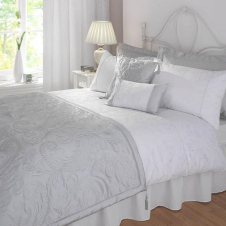White and grey bedding
