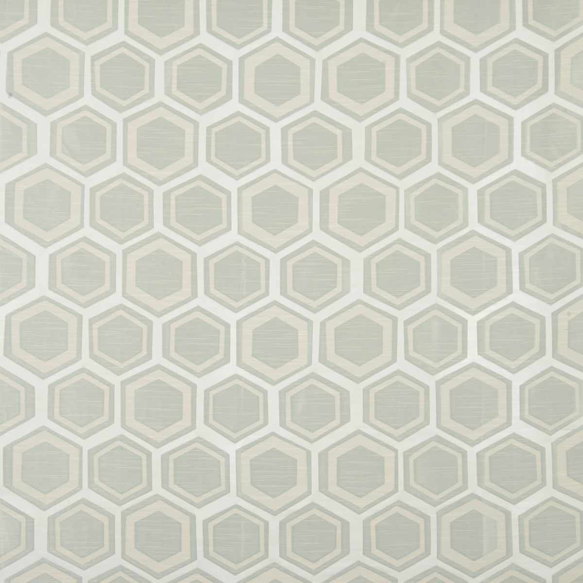 Hexagonal patterned fabric in grey and cream