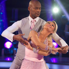 Two dancers from Strictly Come Dancing, doing a Waltz
