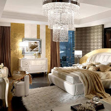 White and gold classy bedroom