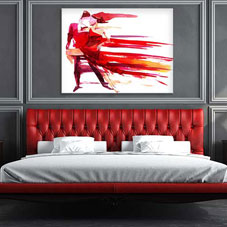 Dark grey, white and red bedroom design with red artwork of dancers above the bed