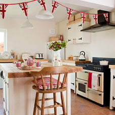 Country farm house kitchen in cream with Union flag bunting