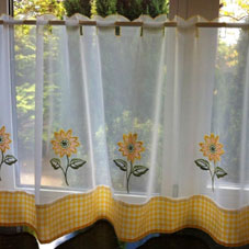 White voile net kitchen curtains with yellow base and yellow floral design