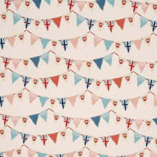 Cream fabric with red and blue bunting design