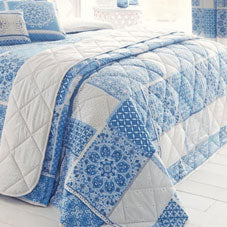 Blue and white checked and floral bedding
