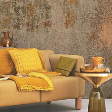 Gold and yellow sofa, throw and cushion