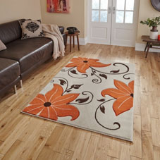 Orange and cream floral rug on a wooden floor