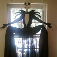Life size Jack decoration from Nightmare Before Christmas, in front of a window