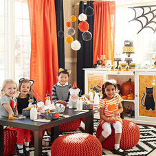 Kids Halloween part with black and orange colour scheme