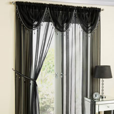 Black voile curtain panels