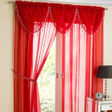 Red voile curtain panels