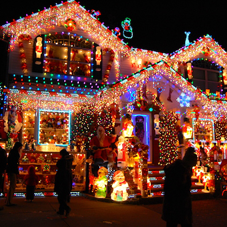 A house covered in Christmas lights