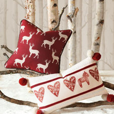 Red and white festive cushions