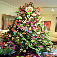 Extravagant Christmas tree with bright decorations
