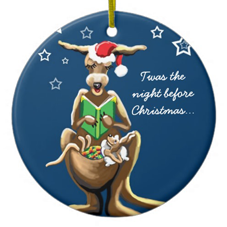Round blue Christmas decoration with a kangaroo on it wearing a Father Christmas hat