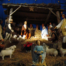 Nativity scene with ornaments