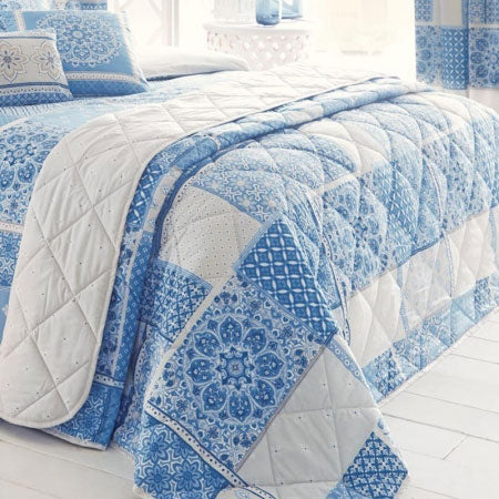 Blue and white geometric and checked bedding