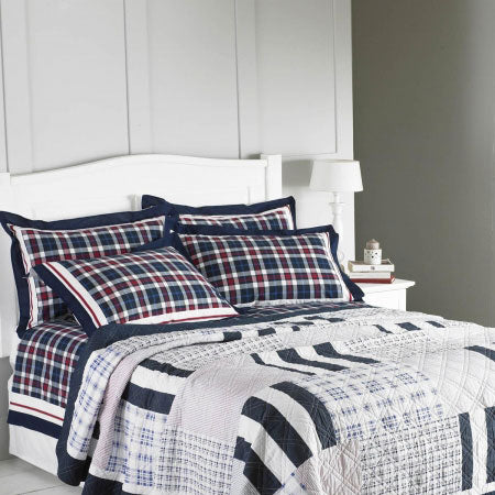 Dark blue, red and white checked bedding