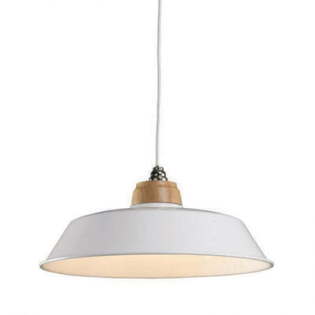 Round metal lampshade on a ceiling light