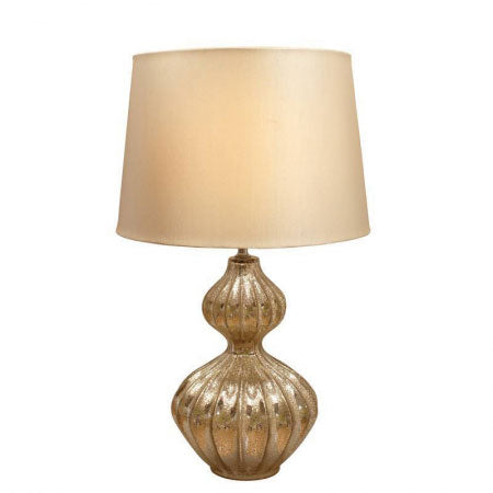 Ornate brown table lamp with a curved design, with a beige lamp shade