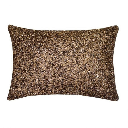 Rectangular brown cushion with a speckled and sparkly design
