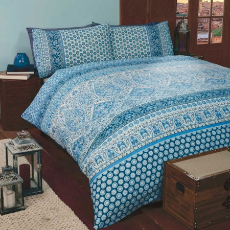 Blue and white patterned double bedding, with a Mediterranean look and feel to the design