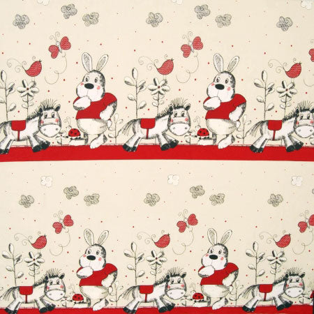 Fabric swatch in cream and red depicting a cartoon donkey, rabbit and ladybird