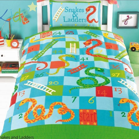 Blue, green and orange snakes and ladders kids bedding