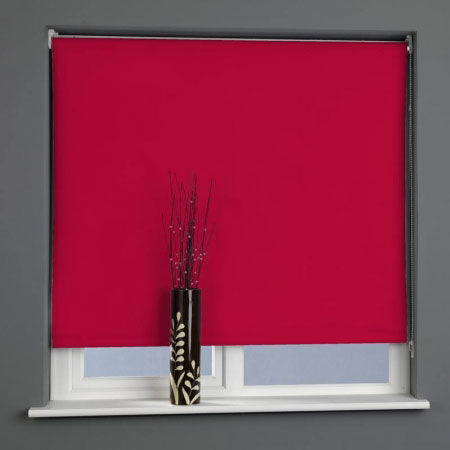 Red ready made roller blind in a grey living space