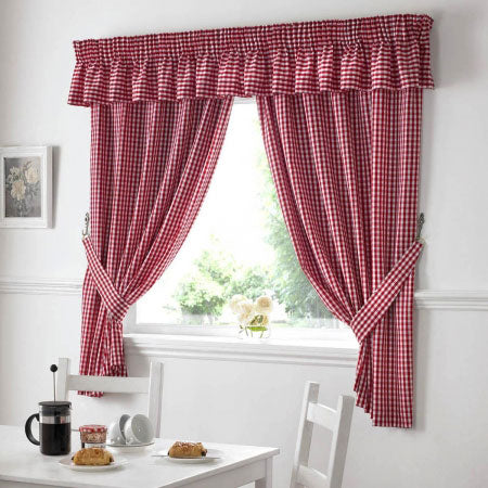 Burgundy red checked kitchen curtains at a window