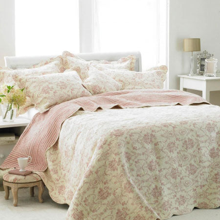 Cream and pink floral bedding