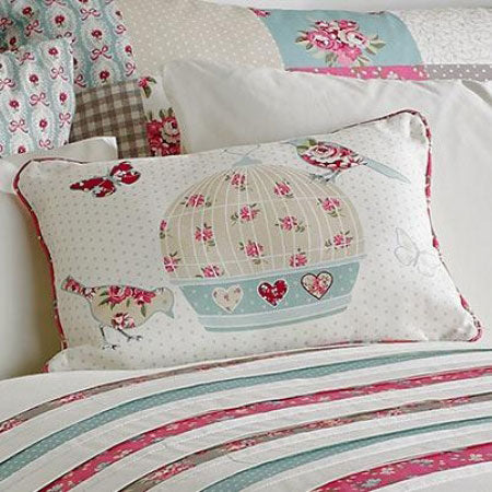 Cute shabby chic cream, pink and duck egg blue bird themed bedding